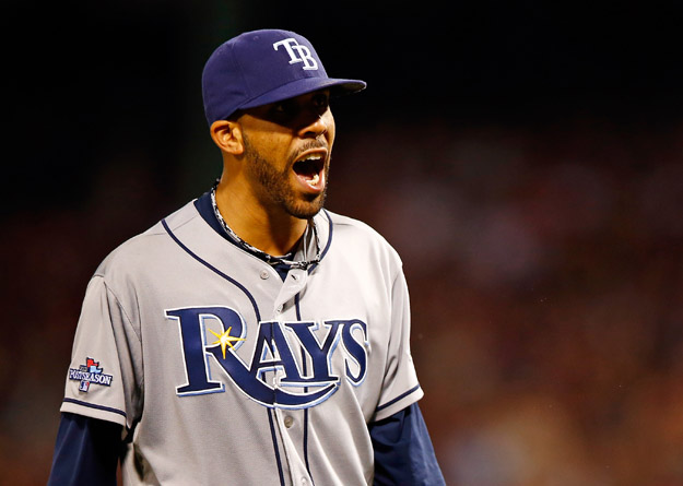 BOSTON, MA - OCTOBER 05: David Price #14 of the Tampa Bay Rays reacts against the Boston Red Sox during Game Two of the American League Division Series at Fenway Park on October 5, 2013 in Boston, Massachusetts.