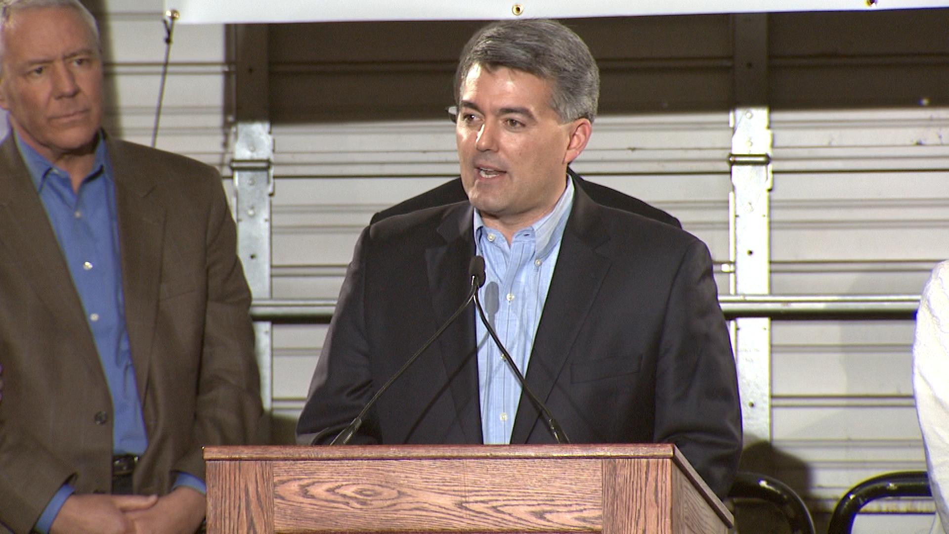 Rep. Cory Gardner announces his Senate run on March 1, 2014. (credit: CBS)
