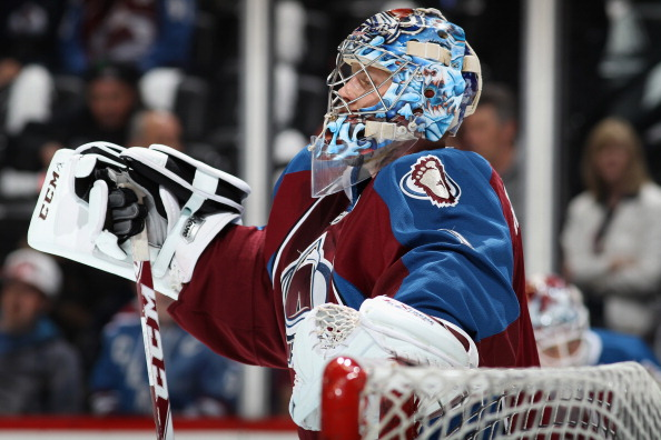 Goalie Semyon Varlamov #1 of the Colorado Avalanche warms up prior to facing the Minnesota Wild in Game One of the First Round of the 2014 NHL Stanley Cup Playoffs at Pepsi Center on April 17, 2014 in Denver, Colorado. (Photo by Doug Pensinger/Getty Images)