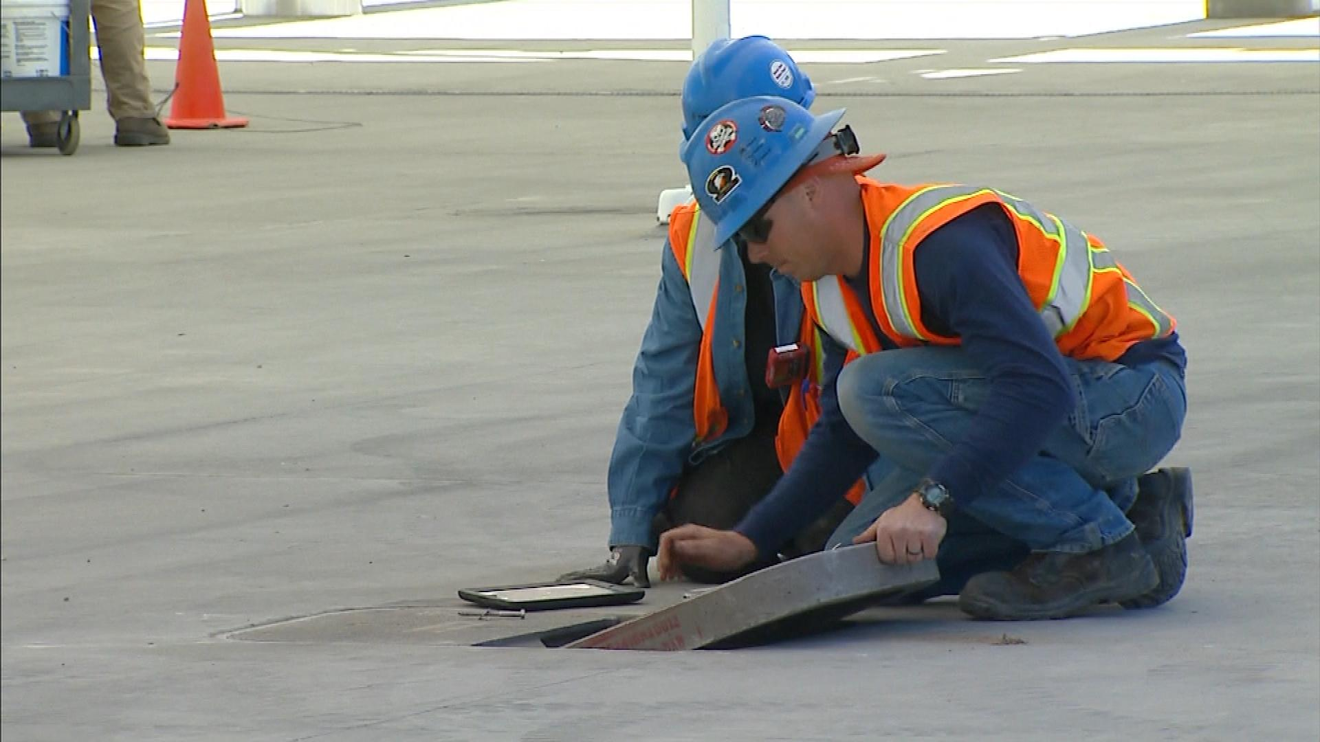 Construction workers at Denver's Union Station (credit: CBS)