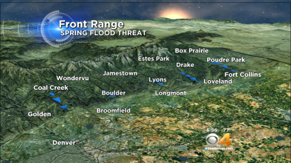 Portions of Colorado's Front Range foothills continue to have a higher than normal flood risk this spring. (credit: CBS)