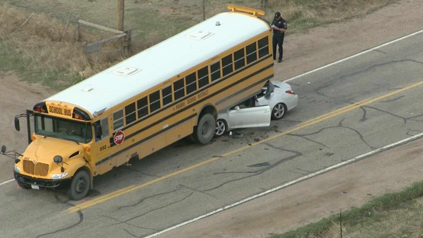 Copter4 flew over a Poudre Valley School bus was involved in a serious crash in Larimer County on Friday morning (credit: CBS)