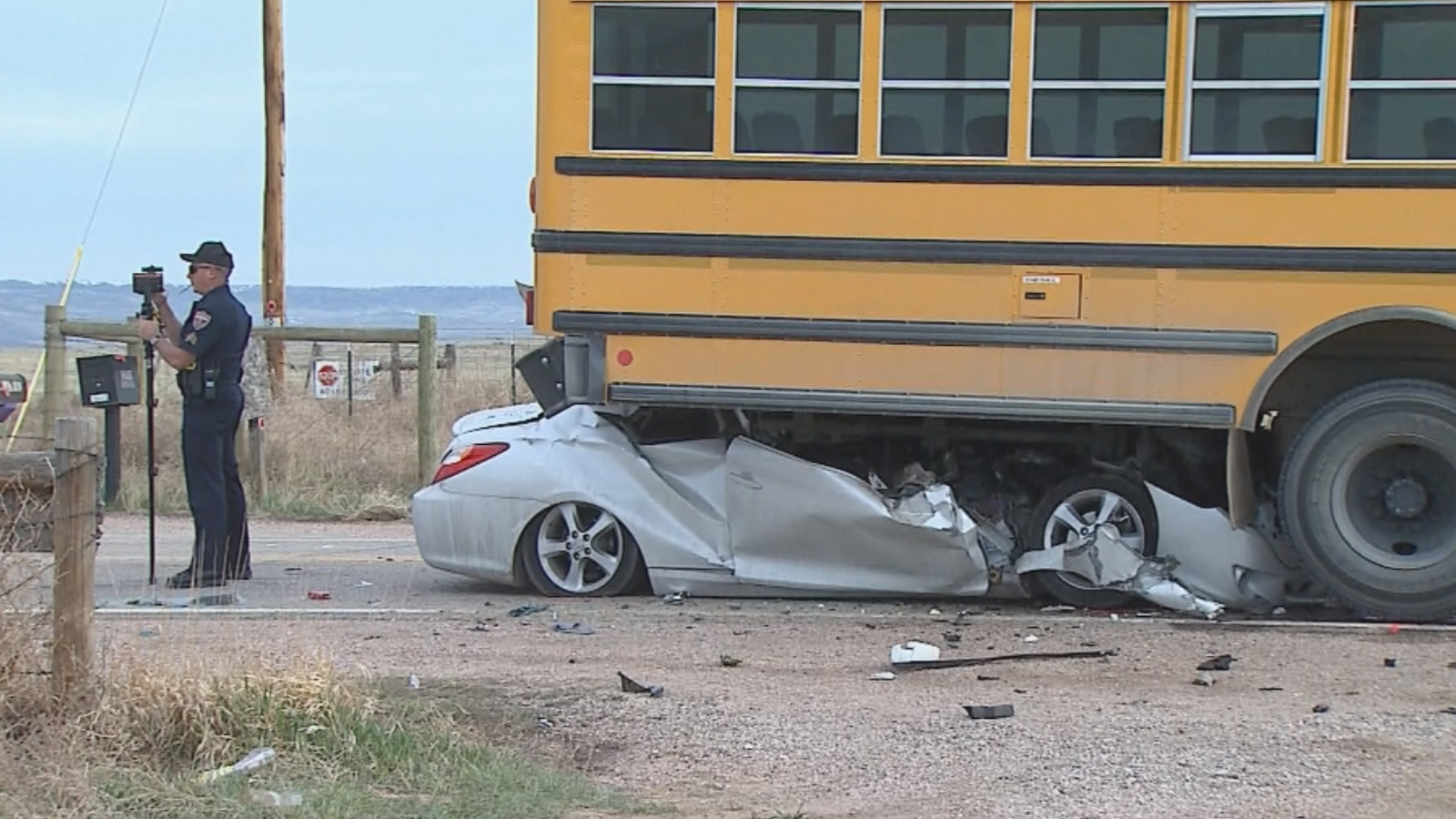 The driver of the car was seriously injured in this crash with a Poudre School District bus on Friday morning (credit: CBS)