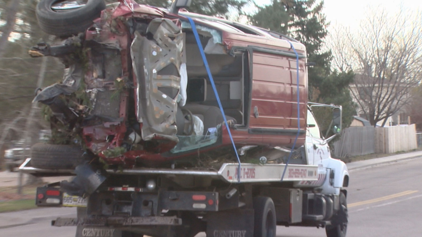Police in Brighton investigate a deadly crash that killed the driver of this SUV (credit: CBS)