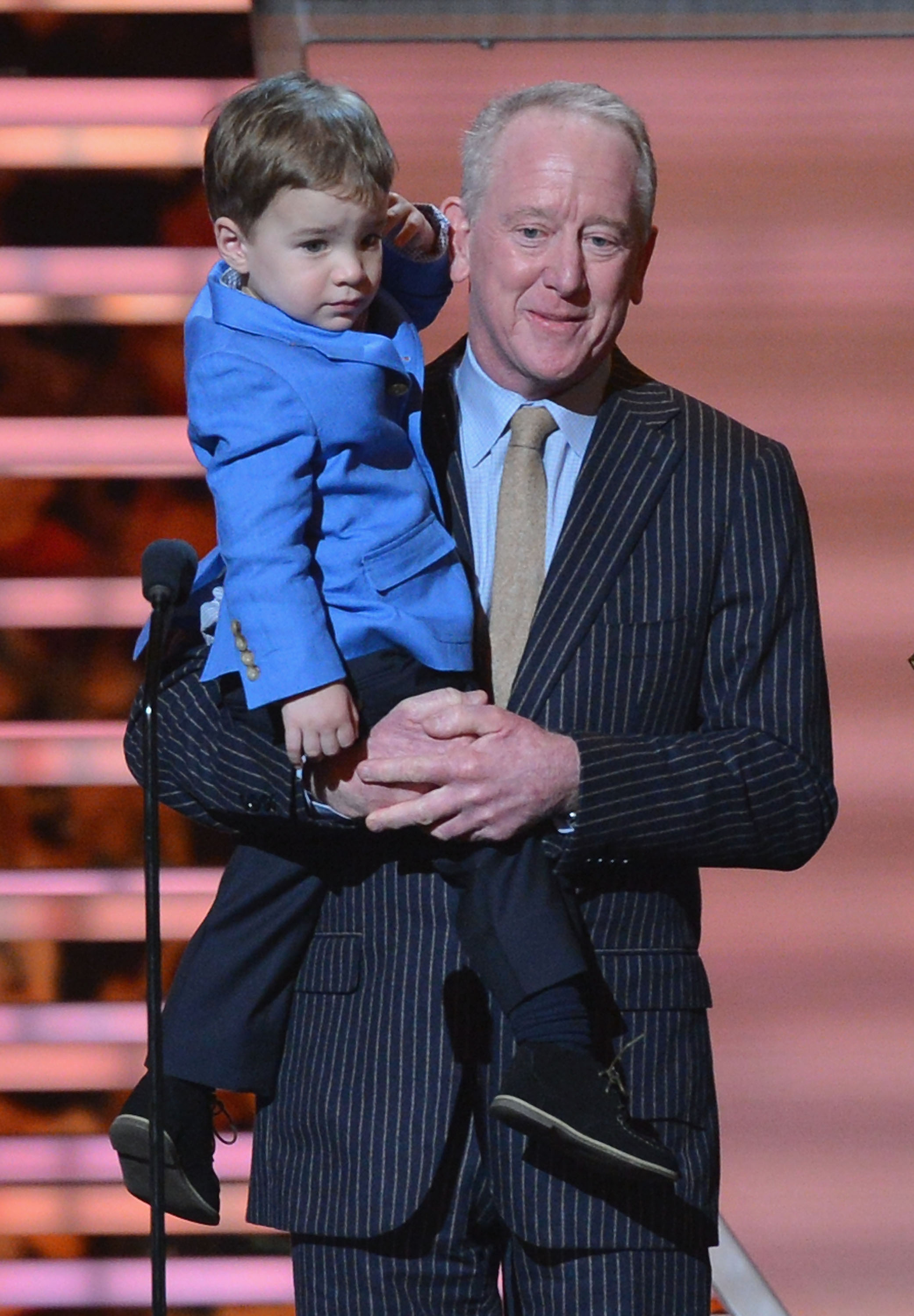 Peyton Manning's son Marshall and father Archie collect on his behalf the NFL MVP award at the 3rd Annual NFL Honors at Radio City Music Hall on February 1, 2014 in New York City. (Photo by Slaven Vlasic/Getty Images)