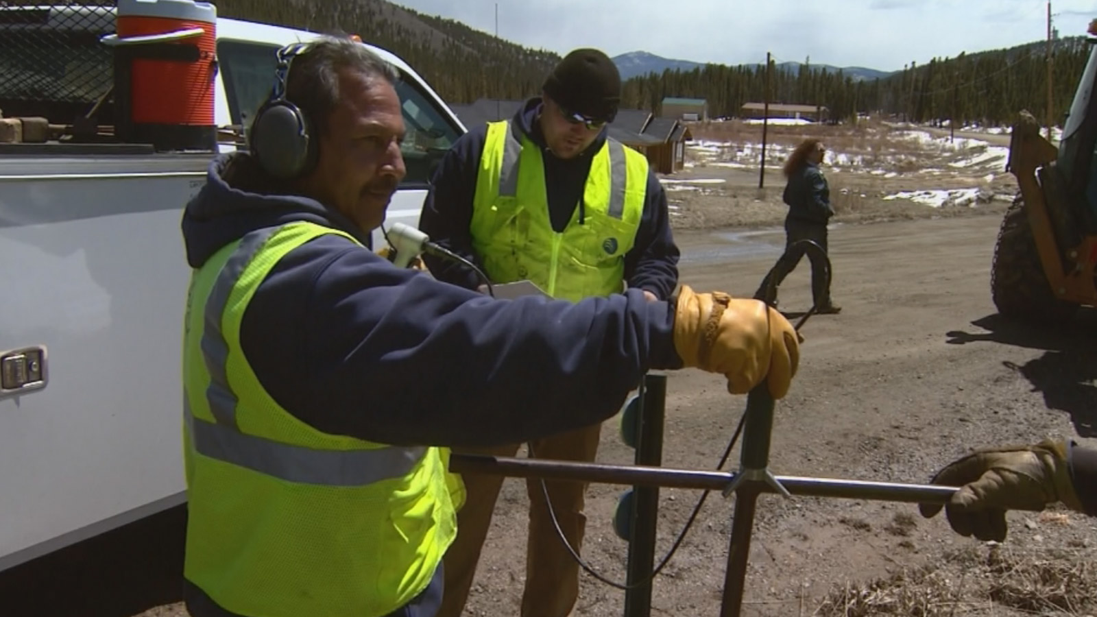 Crews with Aurora Water help St. Mary's Glacier with their water issue (credit: CBS)