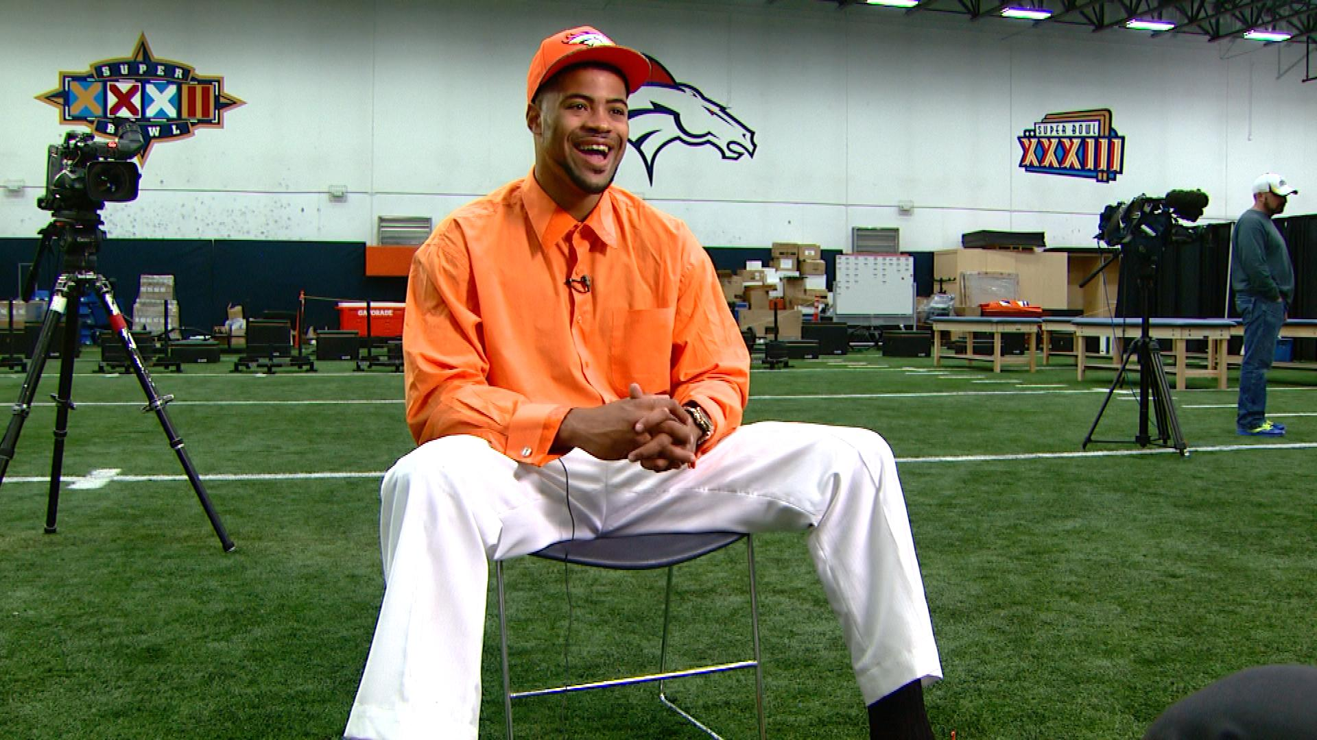 Cody Latimer in his Broncos orange outfit he saved from his high school prom (credit: CBS)