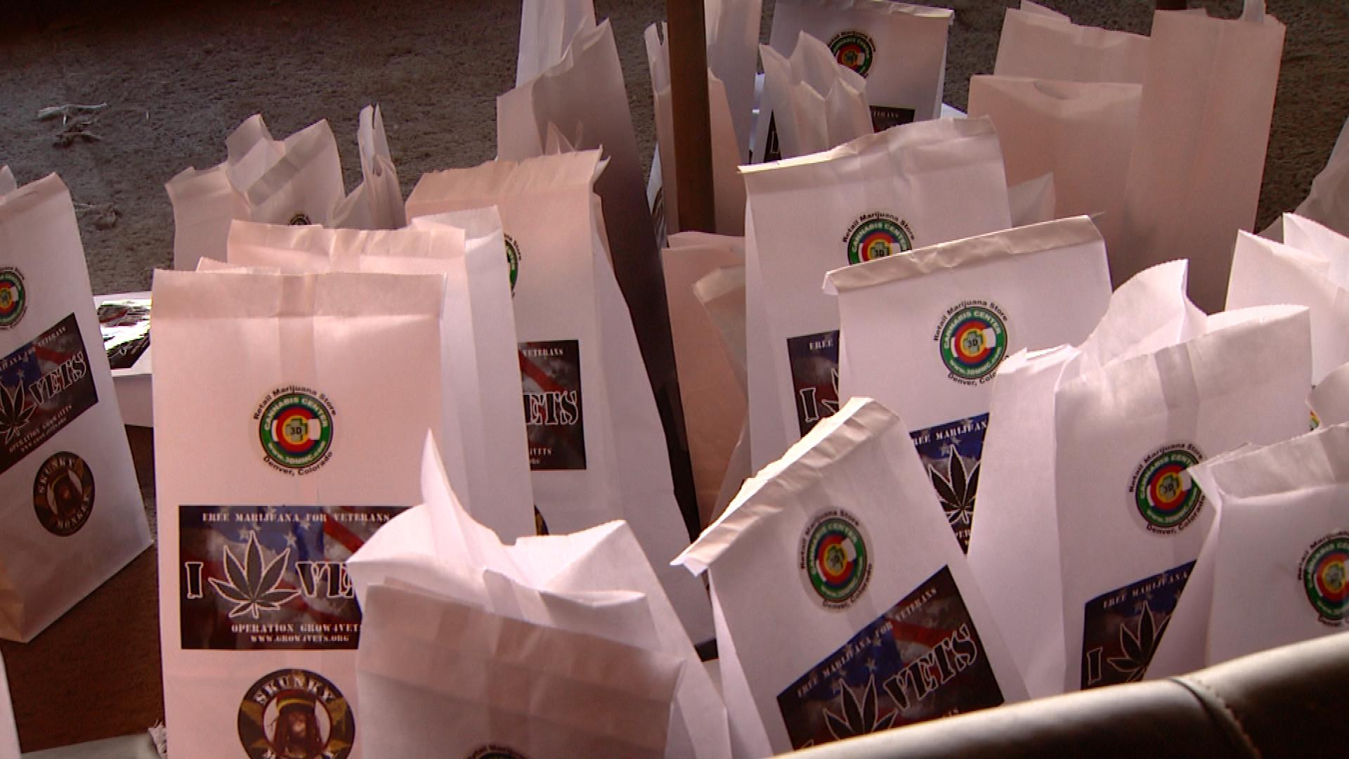 Bags filled with marijuana products for veterans (credit: CBS)
