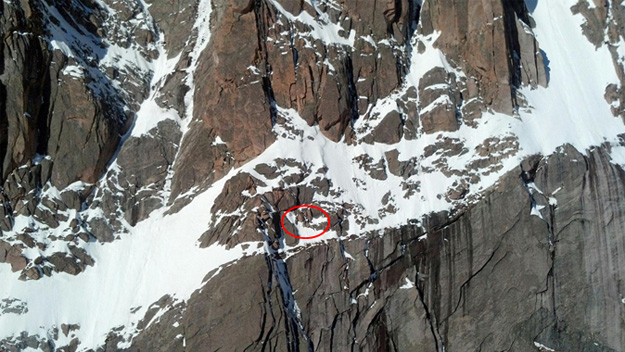 The red circle indicates where the stranded hiker is on Longs Peak (credit: Teton Interagency Helicopter/Rocky Mountain National Park)