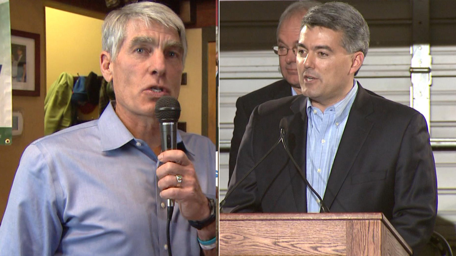 Mark Udall, left, and Cory Gardner, right (credit: CBS)