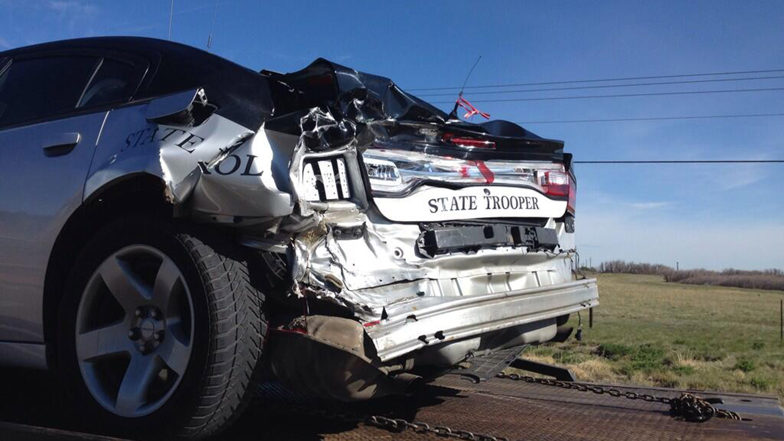 A Colorado State Patrol officer was hurt in an early morning crash on Friday (credit: Colo State Patrol)