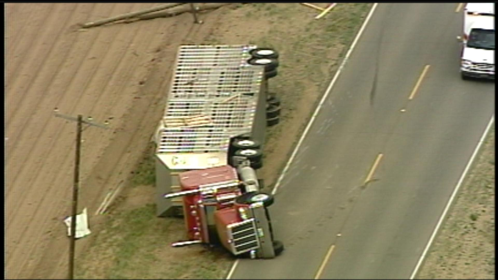 Semis were overturned during a strong tornado that hit Northern Colorado on May 22, 2008.(credit: CBS)