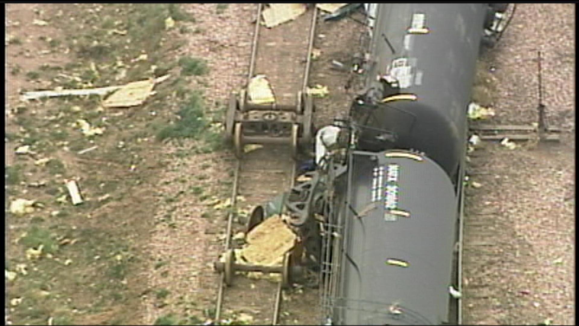 Train cars were thrown over during a strong tornado that hit Northern Colorado on May 22, 2008.(credit: CBS)