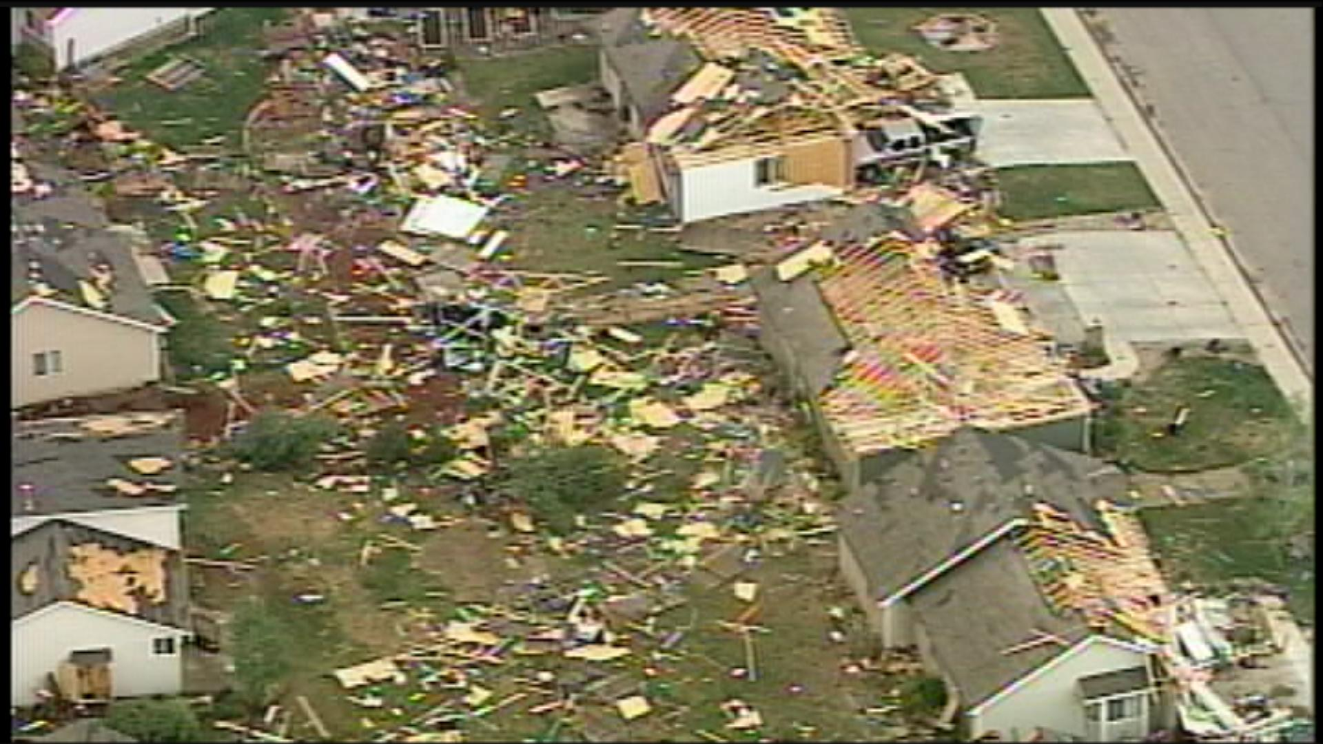 Hundreds of homes were damaged or destroyed when a tornado cut a 39-mile path through Northern Colorado on May 22, 2008. (credit: CBS)