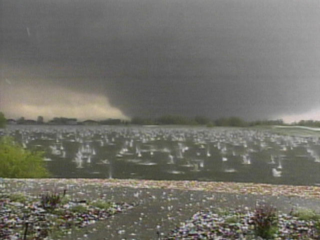 One person was killed and 78 others injured when a large tornado cut a 39-mile path through Northern Colorado on May 22, 2008. (credit: CBS)(credit: CBS)