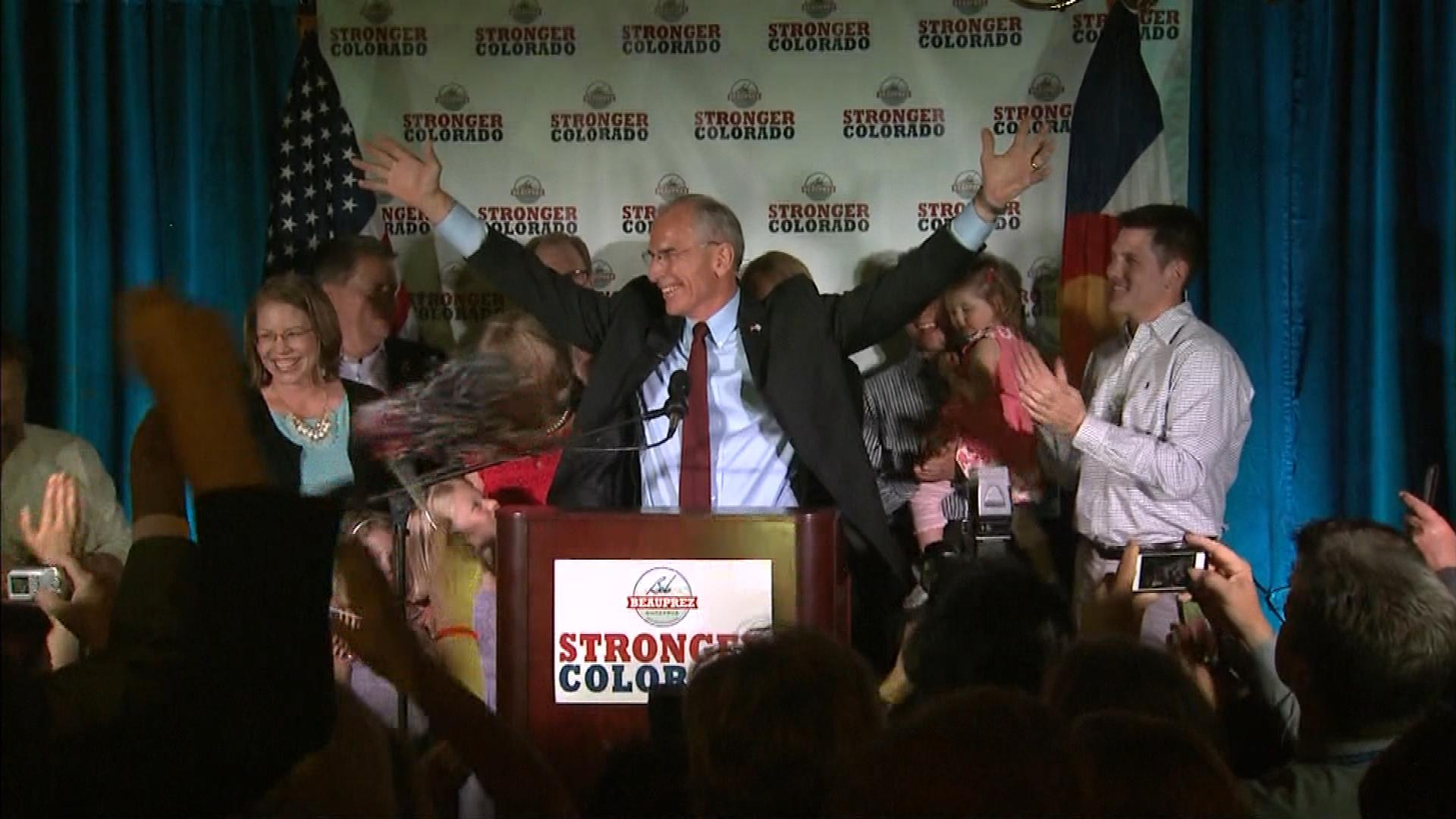 Bob Beauprez celebrates his win on Tuesday. (credit: CBS)