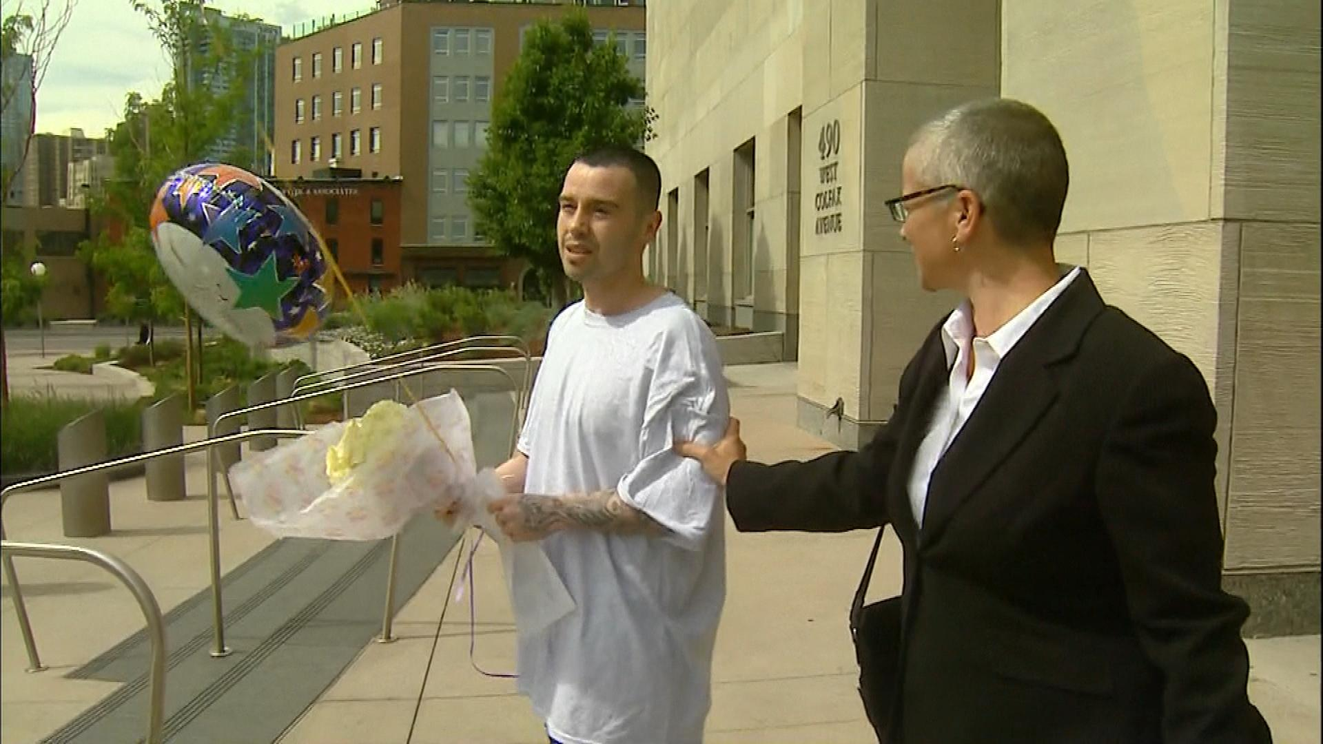 Lorenzo Montoya after his release (credit: CBS)