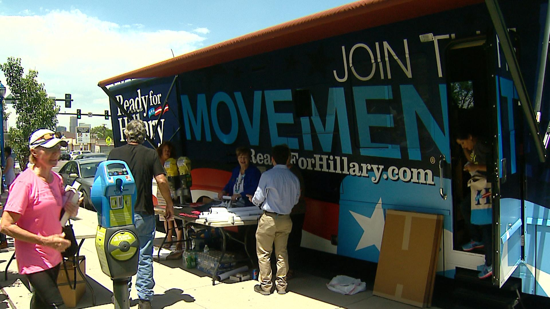 The Ready for Hillary super PAC bus (credit: CBS)