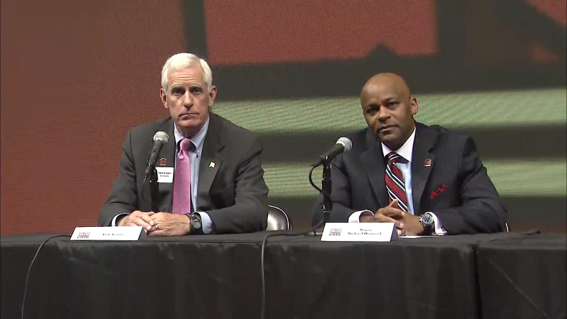 Pete Coors, left, and Denver Mayor Michael Hancock were part of the bipartisan team that tried to bring the RNC to Denver. (credit: CBS)