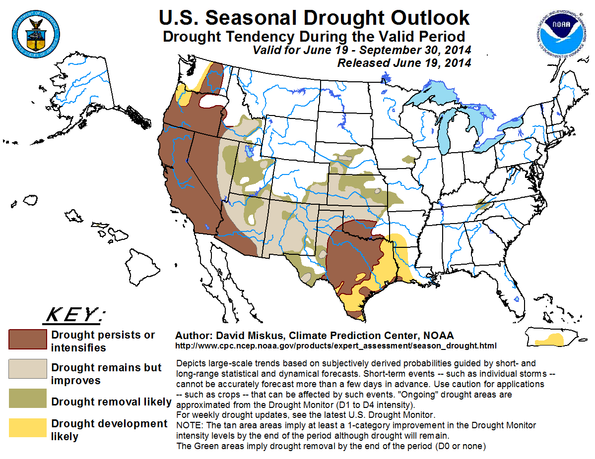 The latest U.S. Drought Outlook, issued June 19, 2014. (credit: Climate Prediction Center)