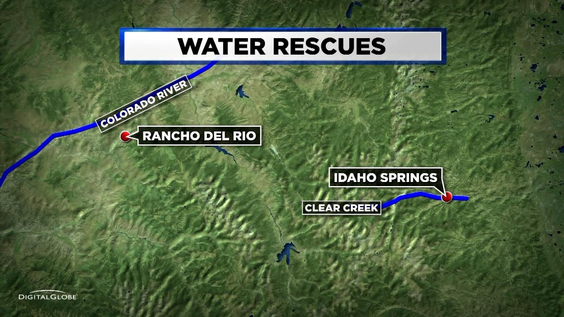 Locations of Thursday's rafting rescues (credit: CBS4)