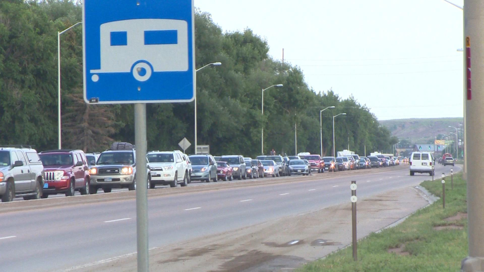 Traffic backed up on Highway 24 (credit: CBS)