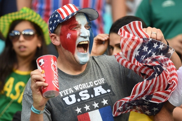 US fans cheer prior to a Round of 16 football match between Belgium and USA  (credit: FRANCISCO LEONG/AFP/Getty Images)