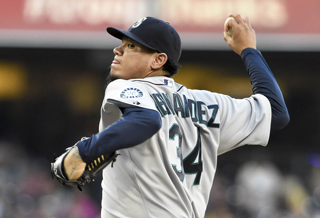 SAN DIEGO, CA - JUNE 18:  Felix Hernandez #34 of the Seattle Mariners pitches during the first inning of  a baseball game against the San Diego Padres at Petco Park June 18, 2014 in San Diego, California.