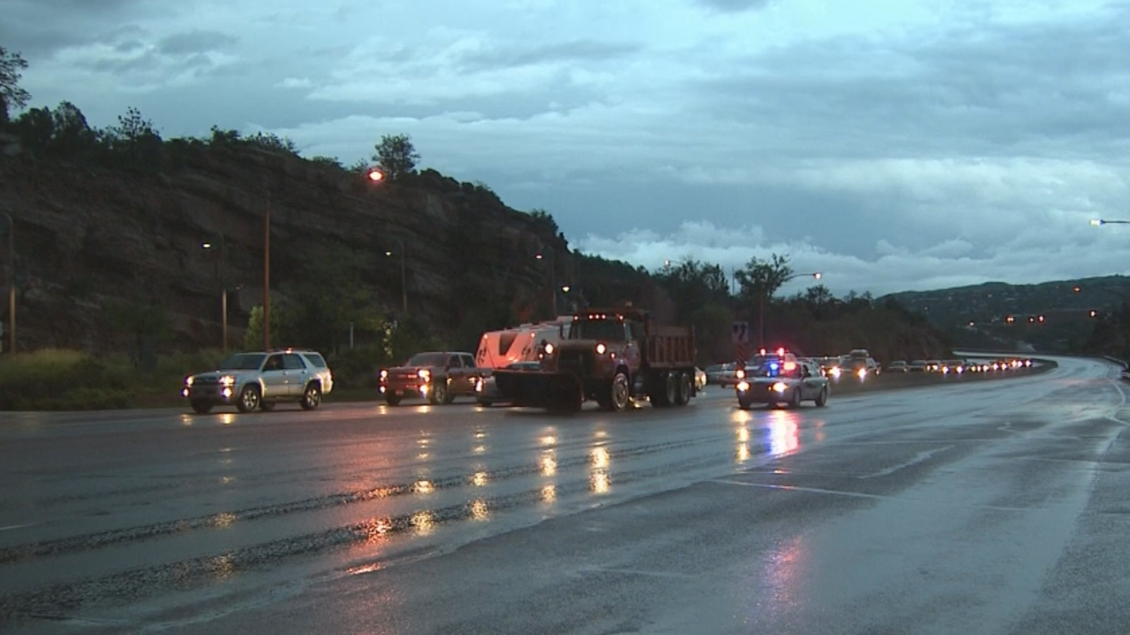 Highway 24 was closed because of flash flooding (credit: CBS)