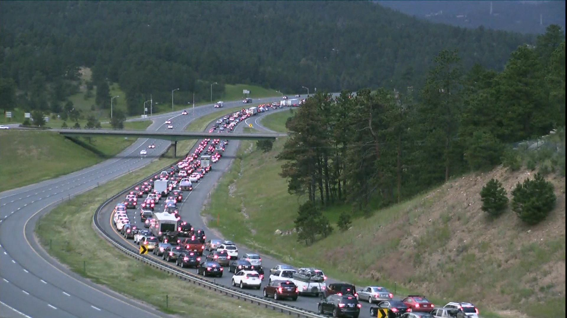 When I-70 becomes congested like this, CDOT will open Peak Period Shoulder Lanes (credit: CBS)