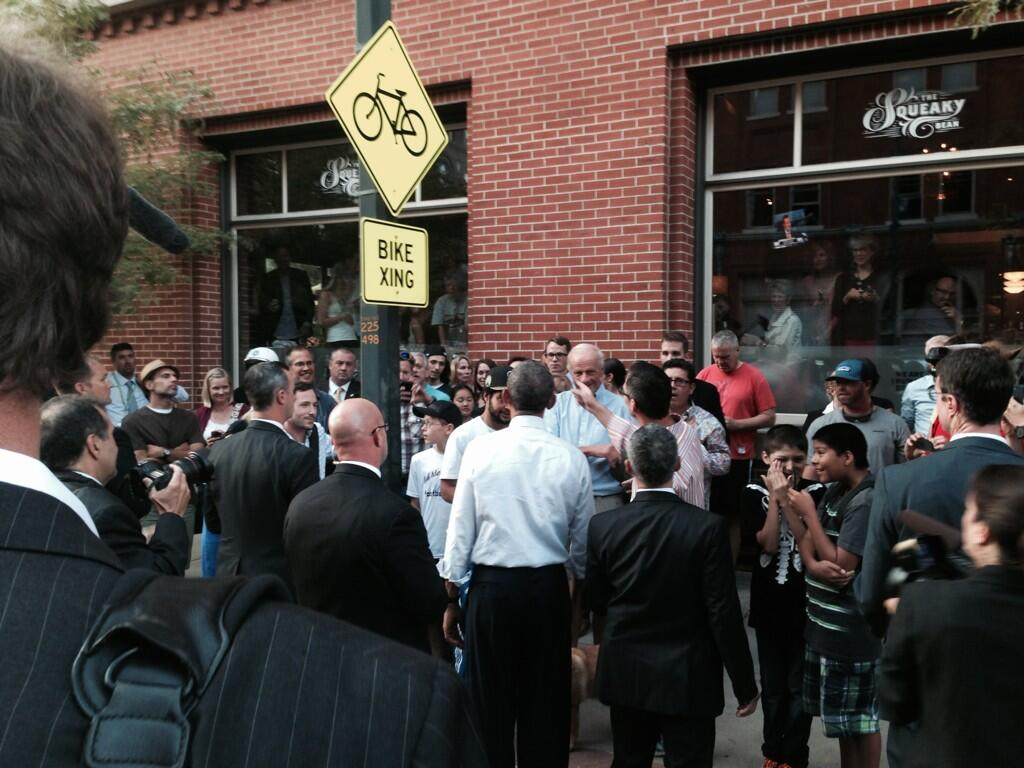 President Obama on 15th Street on Tuesday (credit: Mark Knoller/Twitter)