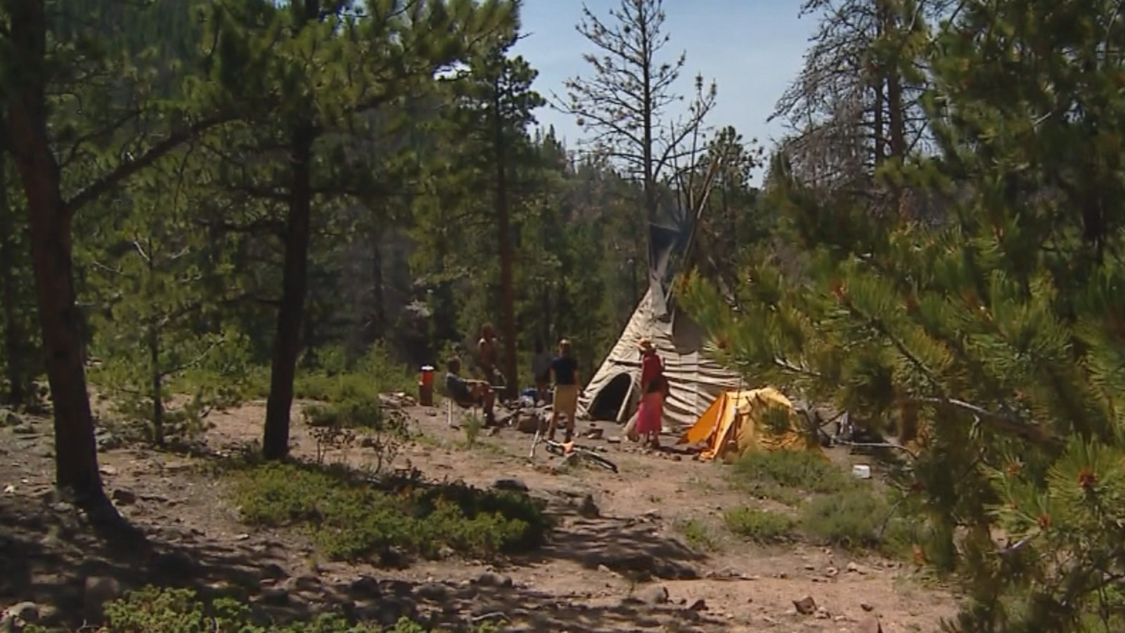 The Rainbow Family camp near Red Feather Lakes (credit: CBS)
