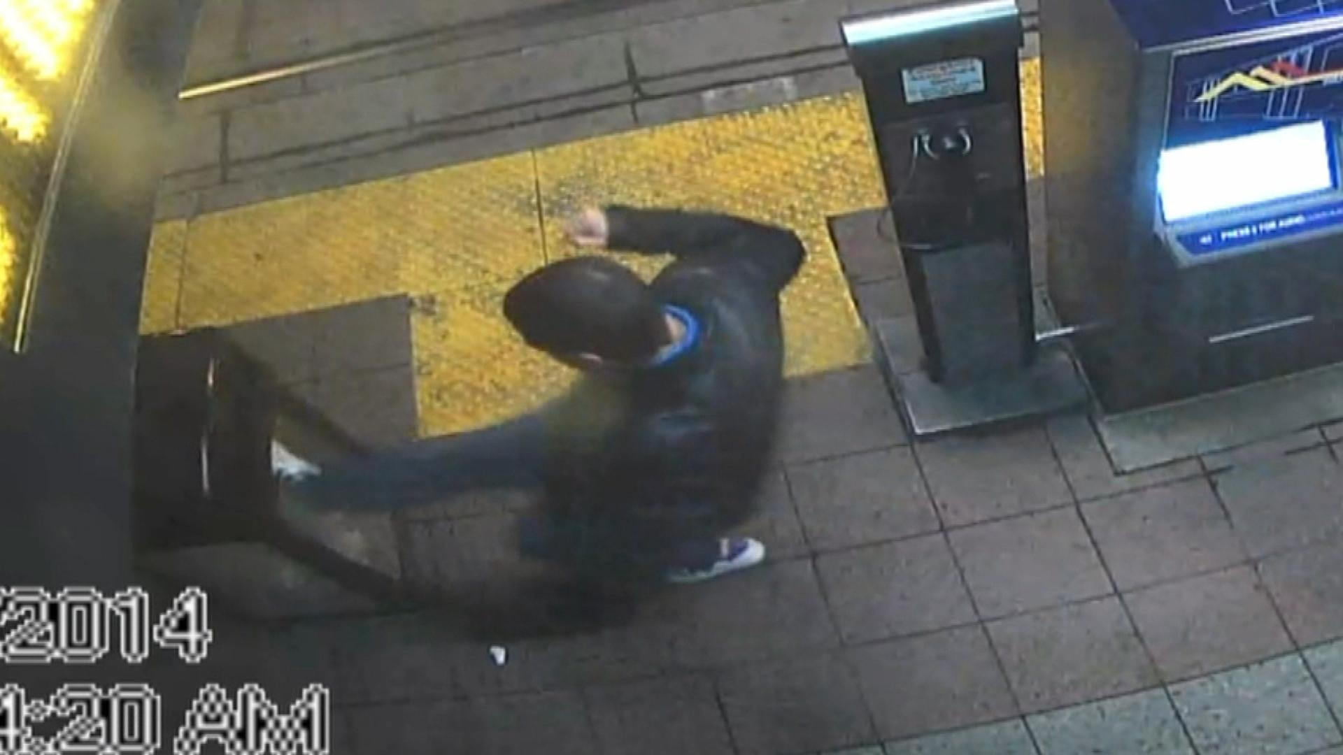 A man kicking RTD property is caught on surveillance footage. (credit: RTD)