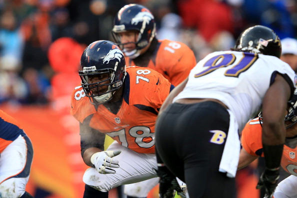 Ryan Clady blocks in the Broncos loss to the Ravens in the playoffs in January 2013. (Photo by Doug Pensinger/Getty Images)