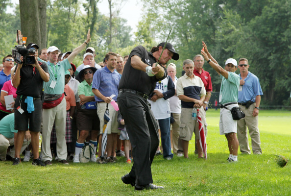 Phil Mickelson plays a free drop ball on the 18th hole during the second round of The Barclays. (Photo by Hunter Martin/Getty Images)