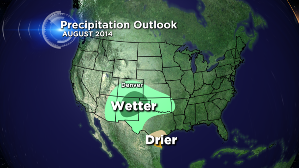 The August 2014 national precipitation outlook from the Climate Prediction Center, released on July 31, 2014. (credit CBS)
