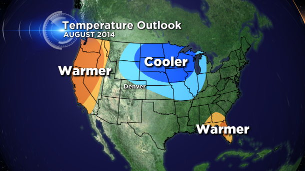The August 2014 national temperature outlook from the Climate Prediction Center, released on July 31, 2014. (credit CBS)