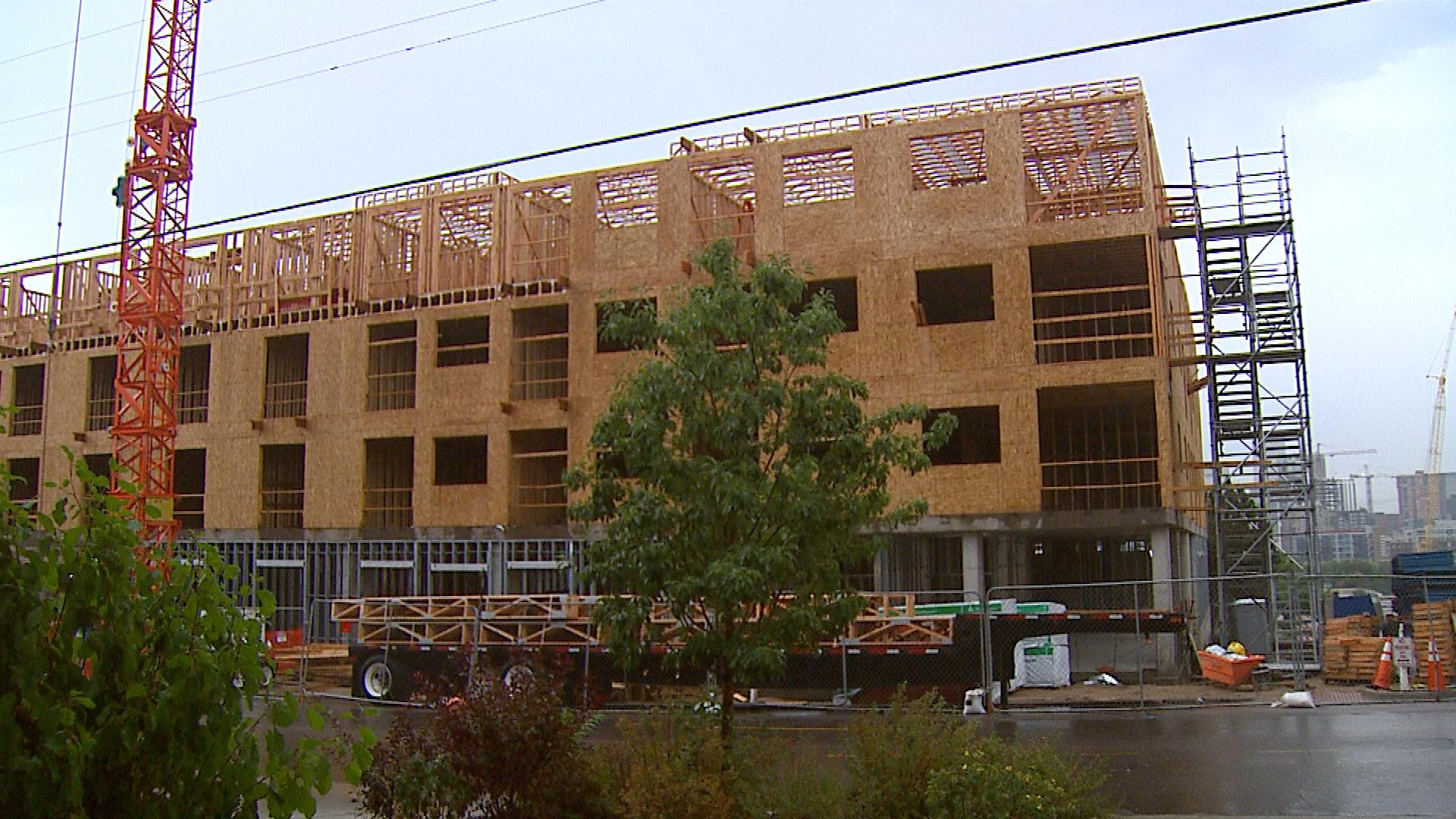 A housing complex under construction in Denver (credit: CBS)