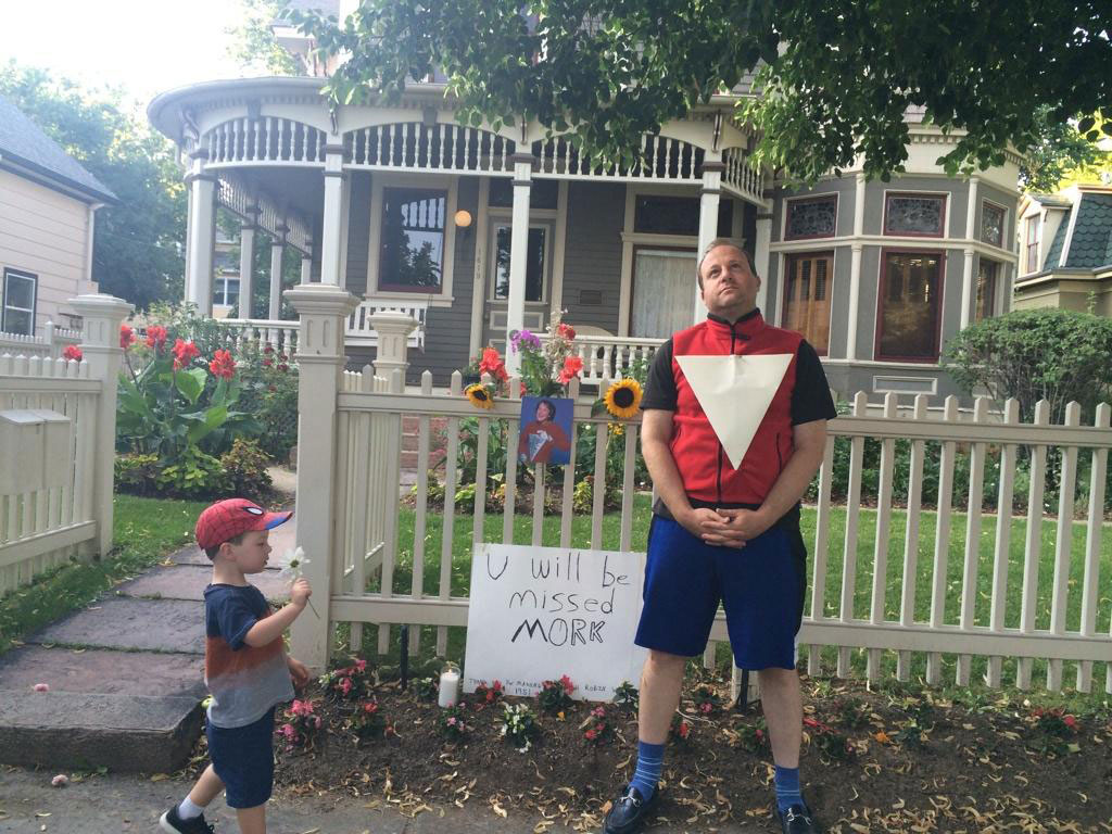 "Rep. Jared Police at the ""Mork & Mindy"" house in Boulder on Monday (credit: Jared Polis/Twitter)"