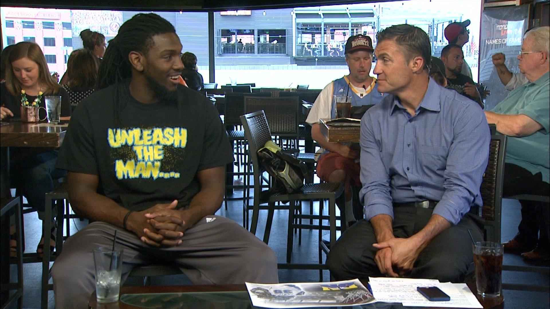 Kenneth Faried  with CBS4's Vic Lombardi on Xfinity Monday Live! (credit: CBS)