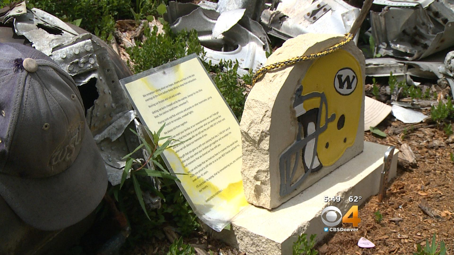 The Wichita State football memorial (credit: CBS)