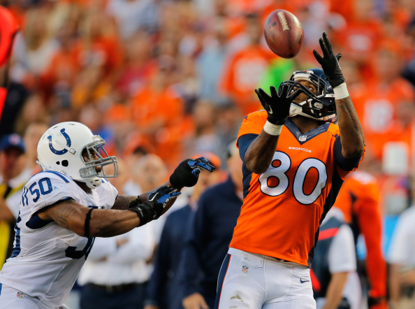 Tight end Julius Thomas #80 of the Denver Broncos makes a 34 yard pass reception against inside linebacker Jerrell Freeman #50 of the Indianapolis Colts for a first down in the first quarter at Sports Authority Field at Mile High on September 7, 2014 in Denver, Colorado.  (Photo by Doug Pensinger/Getty Images)