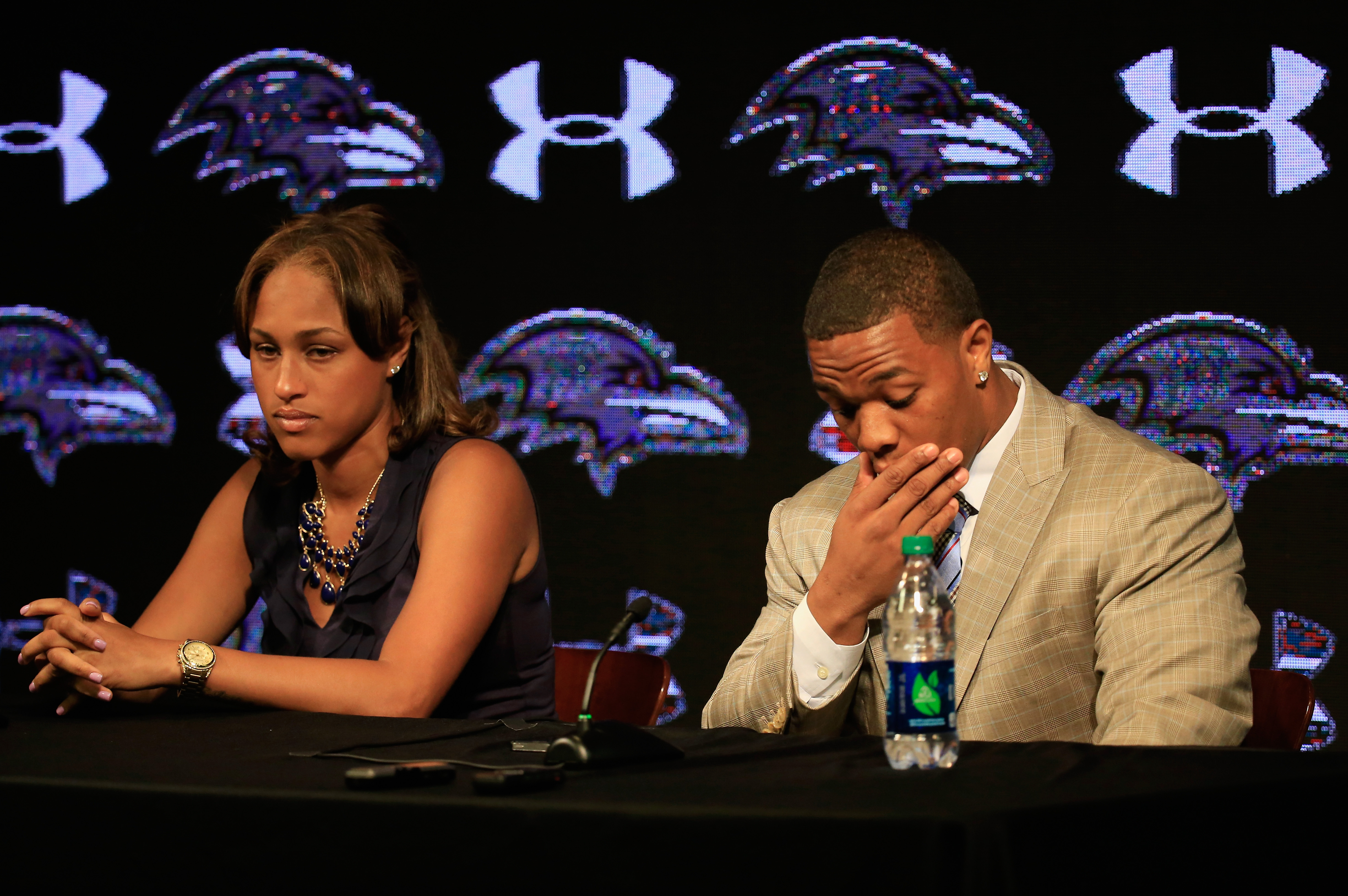 Ray Rice and Janay Palmer address the media in May. (Photo Credit: Rob Carr/Getty Images)