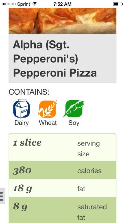 A screenshot of the Nutrislice app lists  allergens, nutritional information and ingredients for food served to students. (credit: Nutrislice)