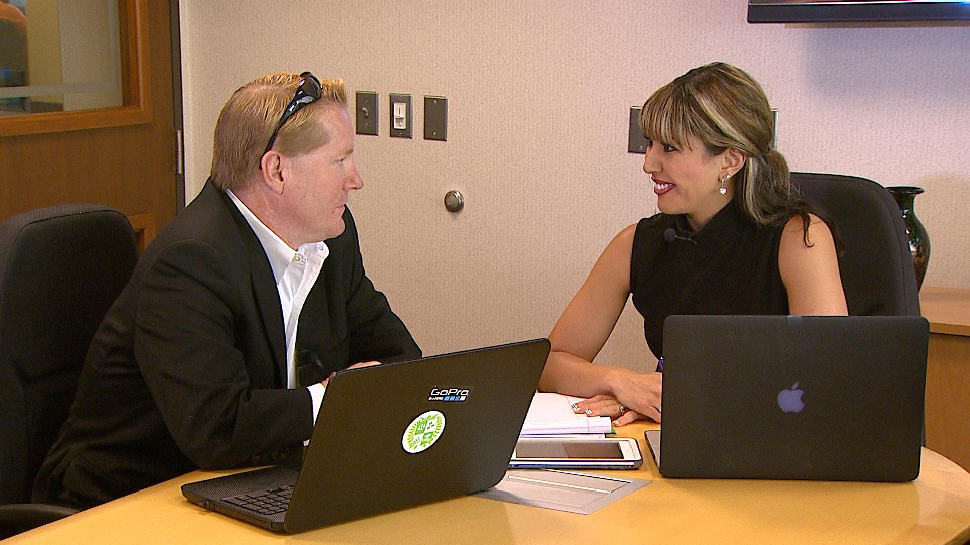 Chloe Villano, right, meets with a client. (credit: CBS)