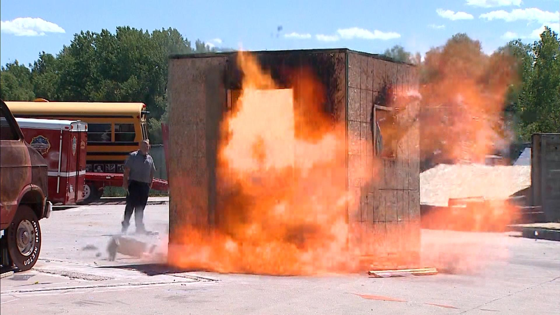 A shack exploding during the demonstration  (credit: CBS)