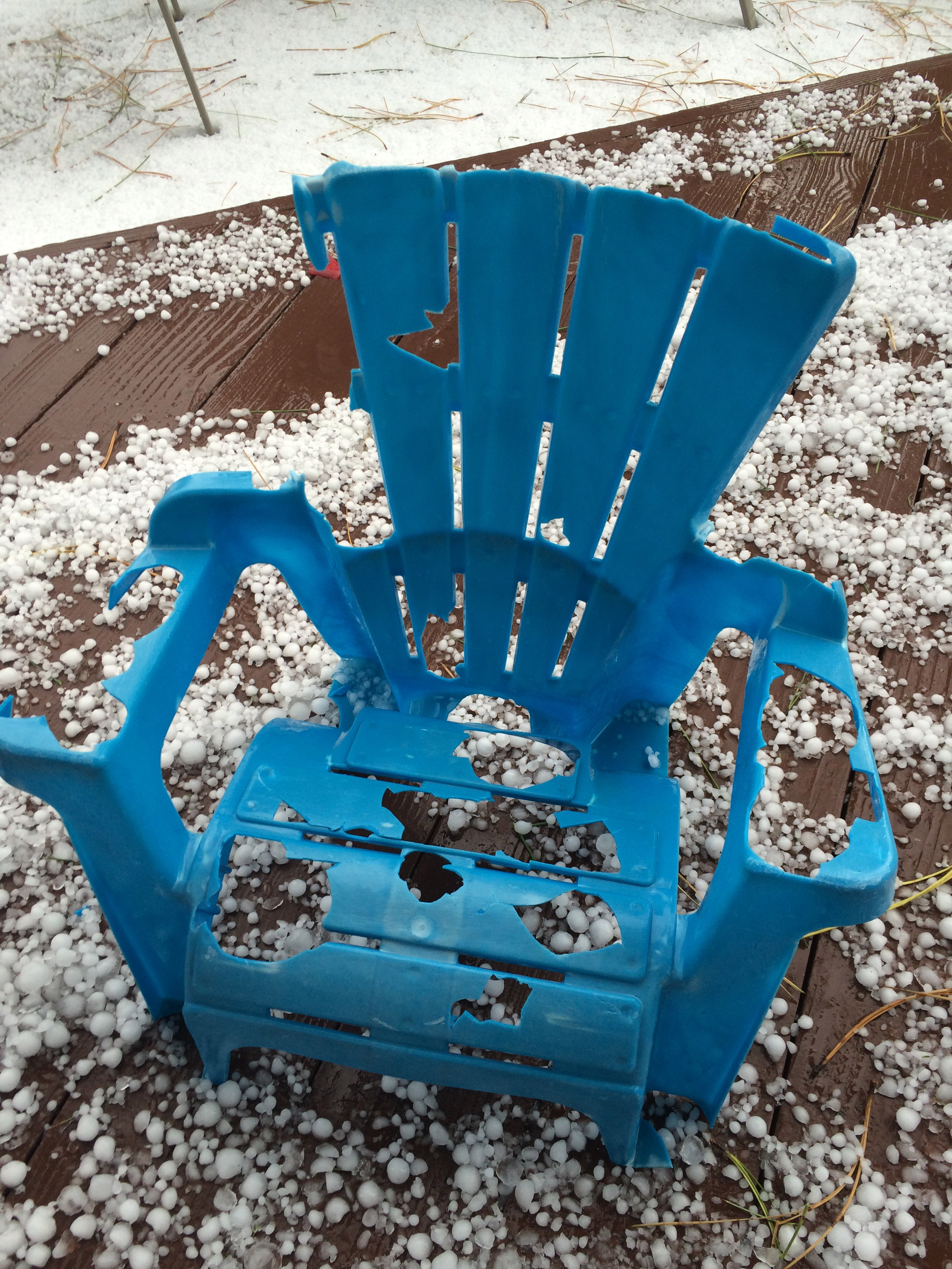 Kelly Vranesic of Highlands Ranch took this photo of a lawn chair that was destroyed by the hail.