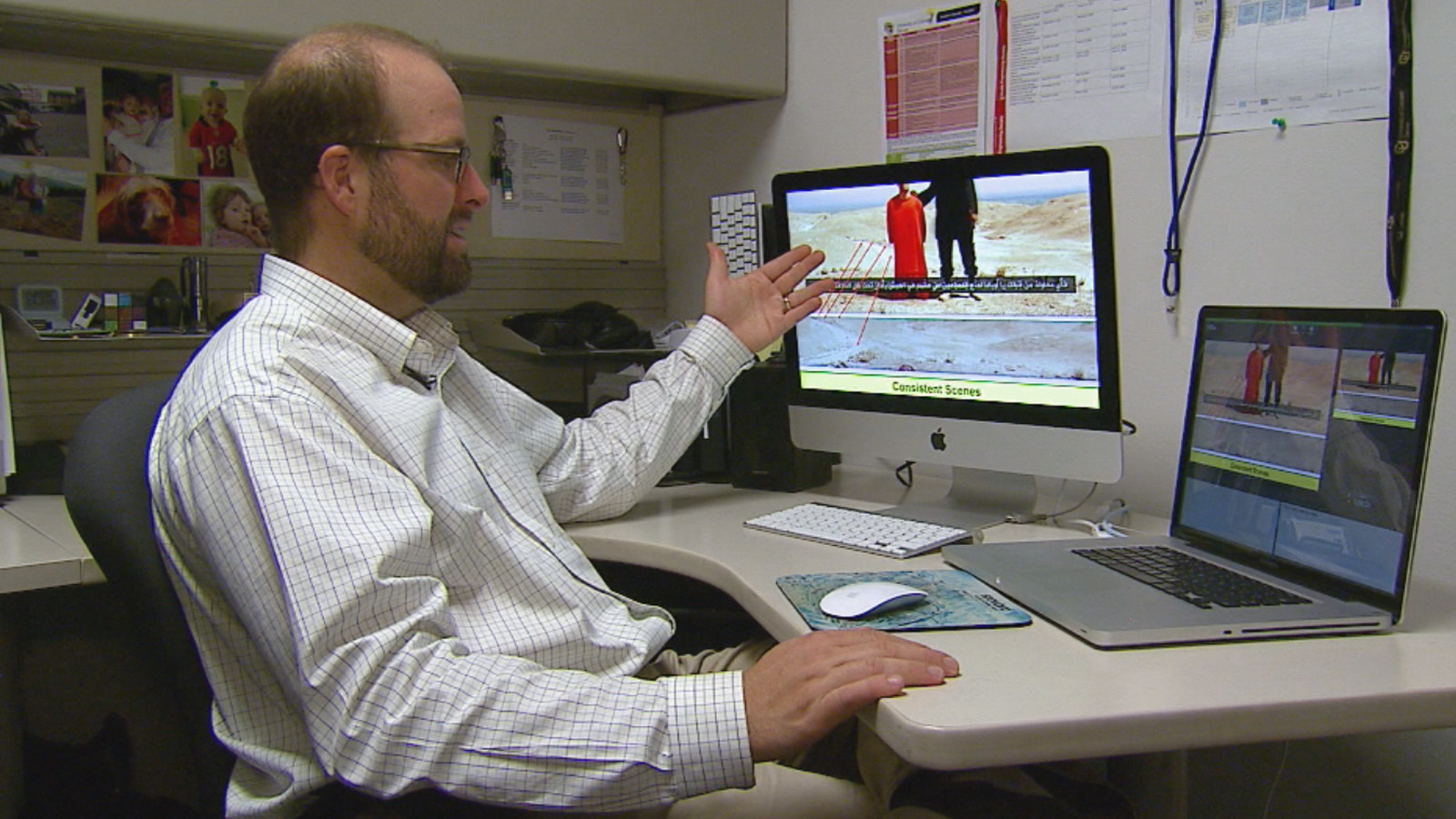 Assoc. Dir. of CU Denver Nat'l Center Forensic Media   analyzes ISIS video (credit: CBS)