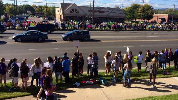 Students protest at Arvada West High School Tuesday morning (credit: Rahel Solomon)