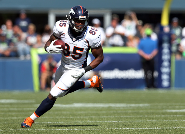 Tight end Virgil Green of the Denver Broncos runs with the ball after apass reception during the second quarter of the game against the Seattle Seahawks. (Photo by Jeff Gross/Getty Images)
